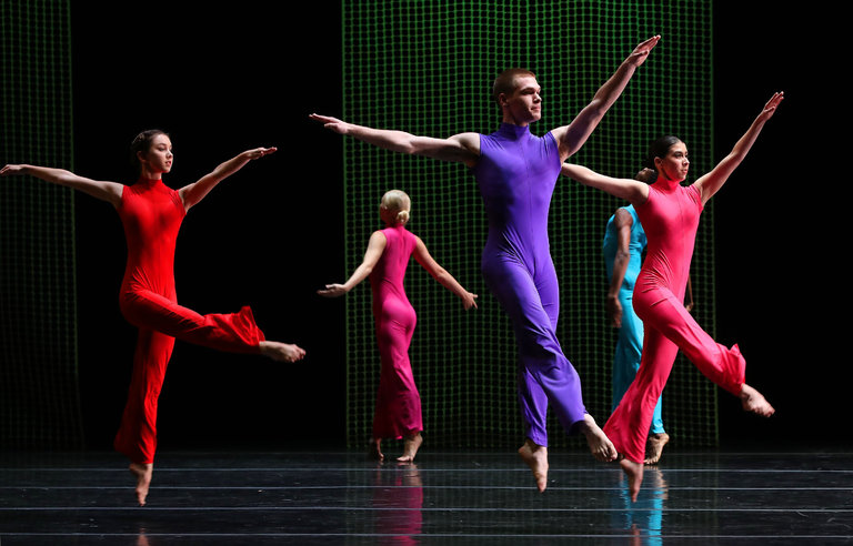 """From left, Mikaela Kelly, Peter Farrow and Taylor LaBruzzo with fellow Juilliard students performing in the premiere of Pam Tanowitz's """"thunder rolling along afterward"""" as part of the program """"New Dances: Edition 2016.""""CreditAndrea Mohin/The New York Times"""