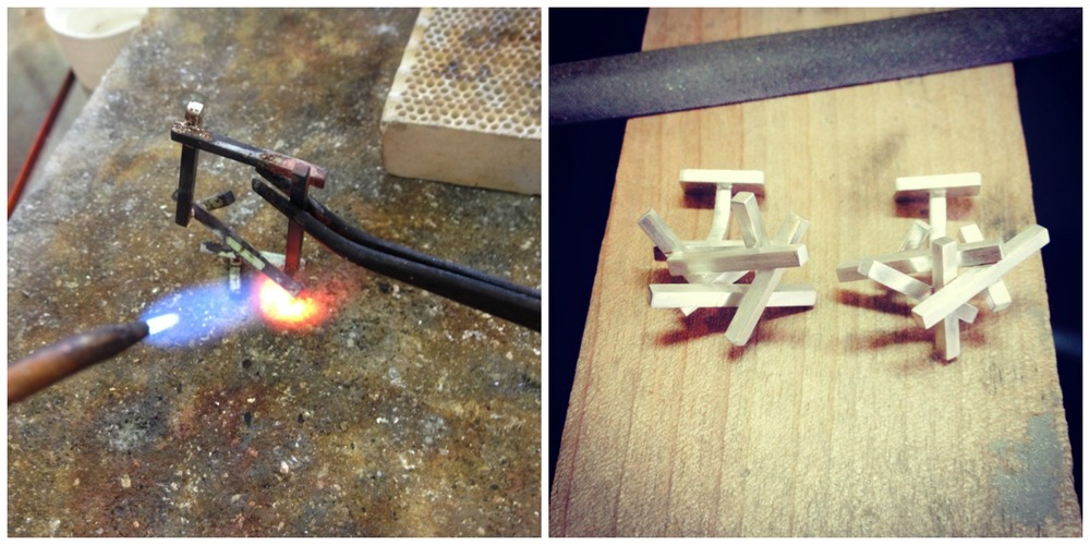 Action shots from the bench. Each little piece of metal is hand cut and soldered.