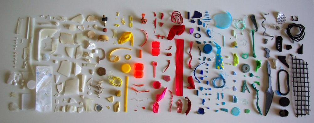 A rainbow of discarded plastics.