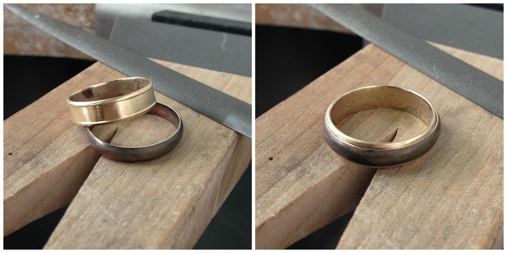 I then made a half round ring that fit perfectly into the channel of the original ring