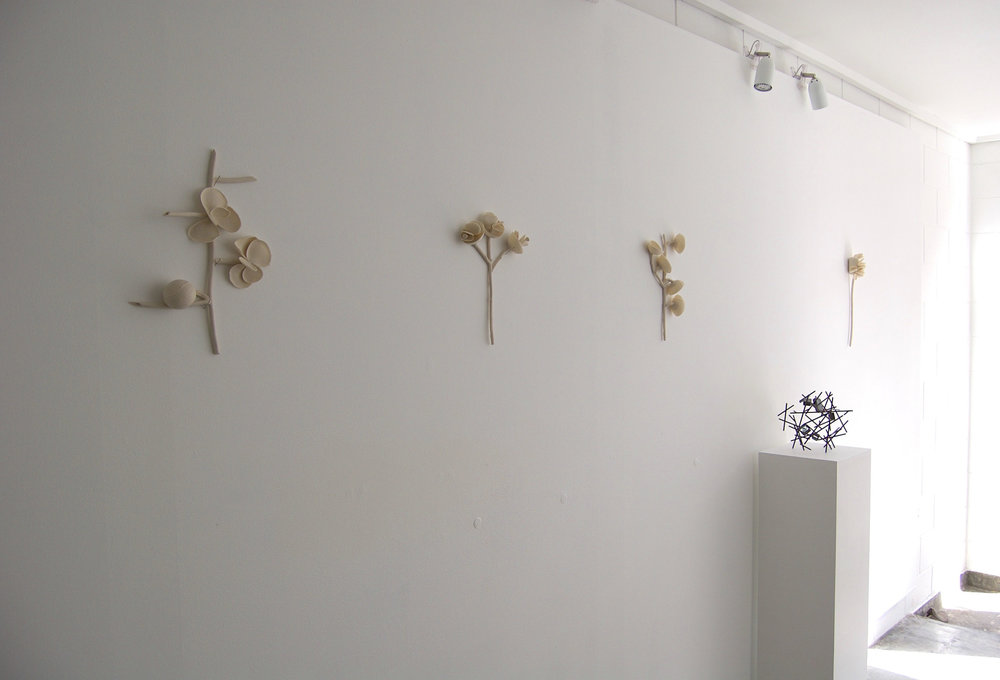 Lesa Farrant's wall pieces with one of my sculptures tucked in there. Photograph courtesy of  Leonie Westbrook .