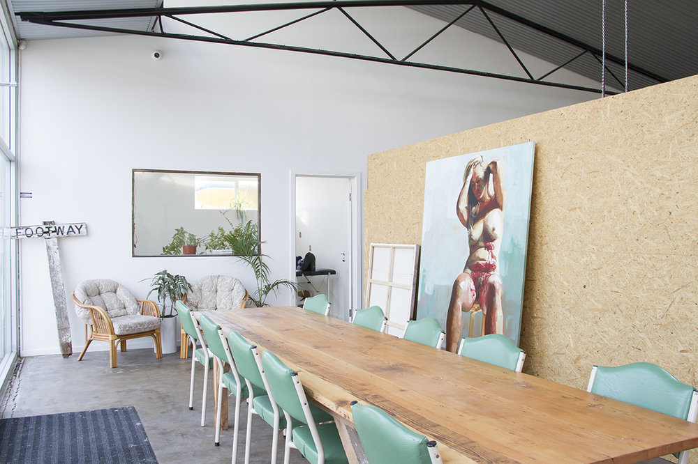 At the front of the  Karma and Crow Studio Collective  we have a lovely workshop area that is available to hire for classes and meetings. Featured to the right is one of  Ellie Kammer's  beautiful paintings which I mention below. Photograph courtesy of  Bianca Hoffrichter.