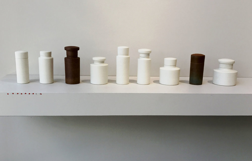Ulrica Trulsson's  porcellaneous stoneware canisters are perfectly balanced and look great as a collection. Ulrica is a talented craftsperson who is high  ly skilled at creating beautifully proportioned forms.