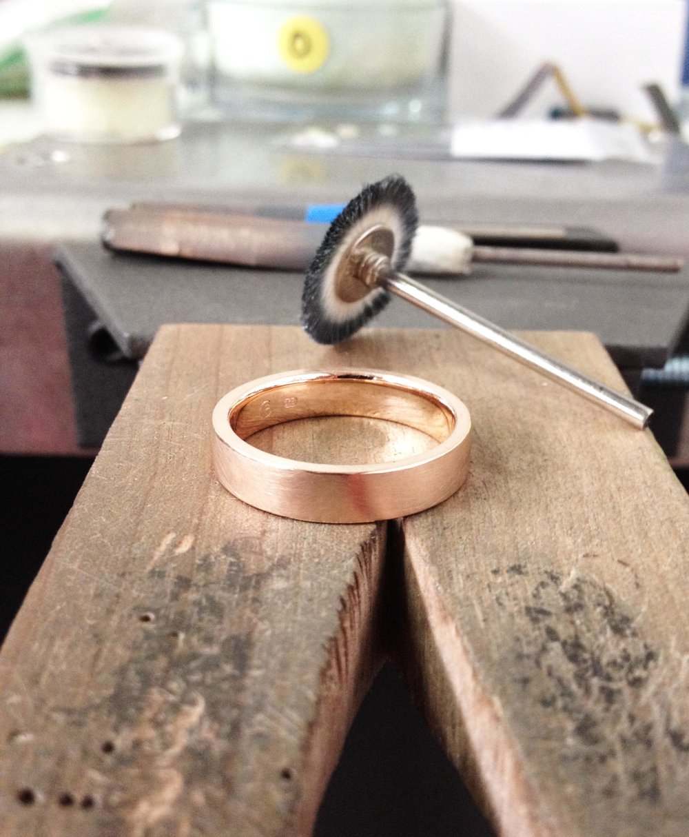 The beautiful ring all clean with a matte finish.