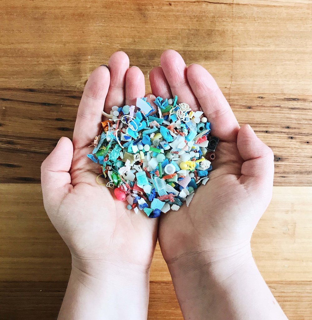 A handful of microplastics found at Port Beach, North Fremantle. Each piece is unique, deceptively beautiful and the perfect size for my  Plastic Soup  Adornment.