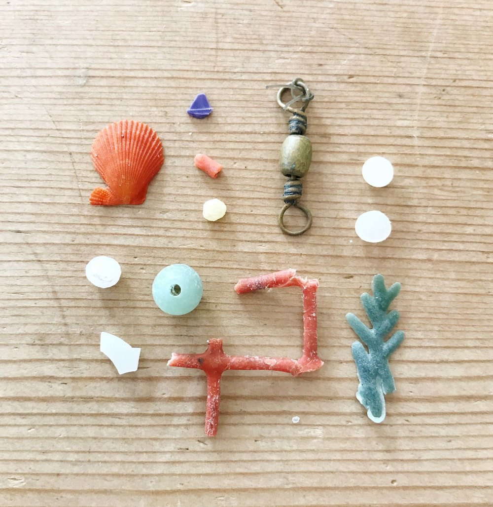 A handful of toxic treasures. I have a love/hate relationship with the beautifully weathered microplastics I collect along the shoreline.