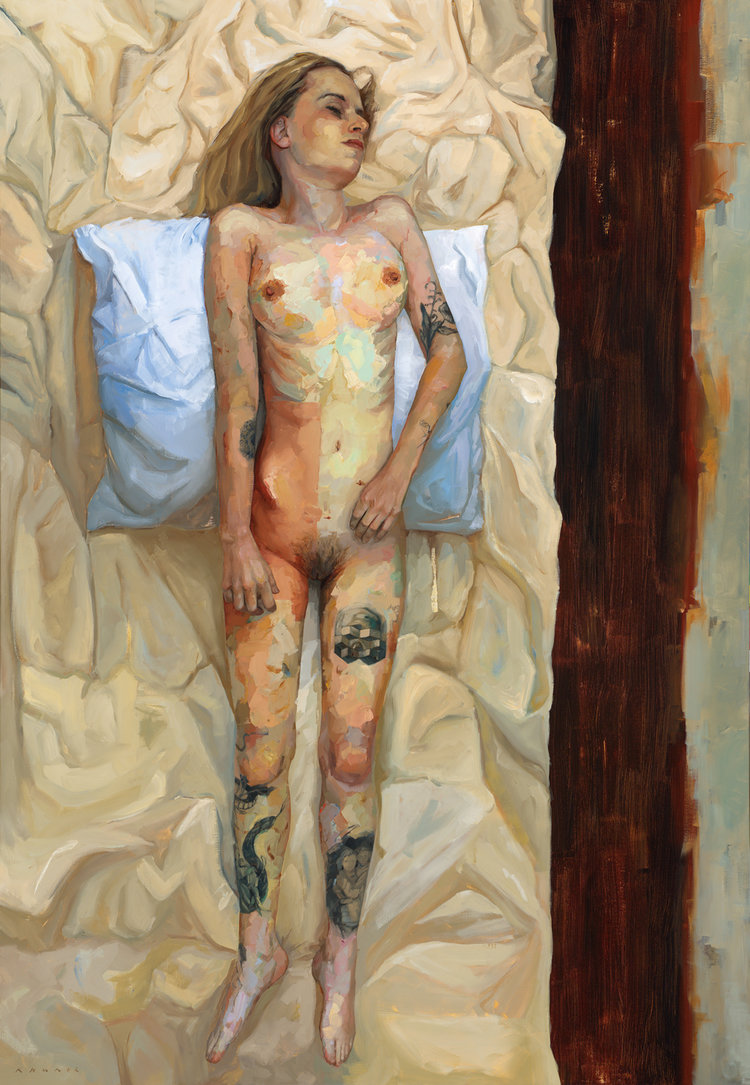 Endometriosis (Quiscence), by Ellie Kammer, 2017. Oil on Belgian Linen, 198cm x 137cm.