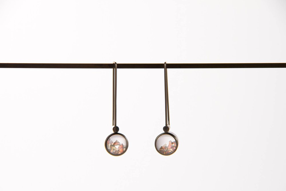 A sneaky peek at a finished pair of Microscope Opal Earrings. Photograph courtesy of the Talented  Bianca Hoffrichter .