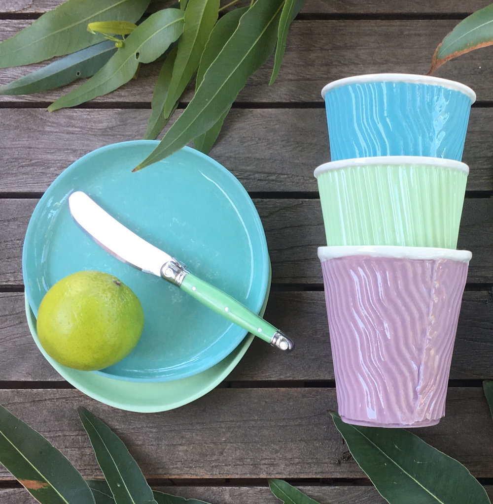 Treat yourself to a set of these beautiful Porcelain Paper Cups (right) which feel fantastic in your hand and are handmade in Freo, Western Australia, by none other than my super talented mother. Photograph courtesy of Dale Frances, (AKA Mum)