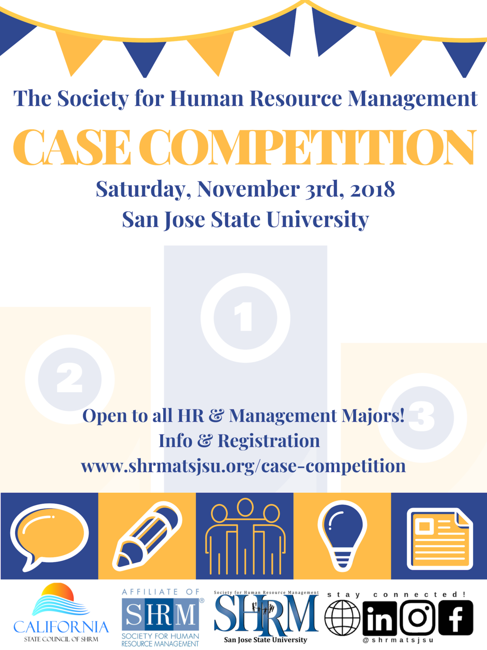 Cal SHRM Case Competition - We are currently not yet taking applicants for the 2019 SHRM Case Competition. Check back again for more information!The SHRM State Student Case Competition is an oral presentation competition hosted by CalSHRM State Council. Student teams from across the state receive and analyze a business case study in advance and prepare a solution in PowerPoint format to be submitted to the Competition Manager prior to the event.Postgraduate and Undergraduate level competitions! Preliminary round scores determine the top two teams to compete in the final rounds, also resenting their solution to a panel of judges. Prizes will be awarded.This opportunity is open to any team from a College or University in California with a degree program in management or HR. They need not have a student chapter to participate.