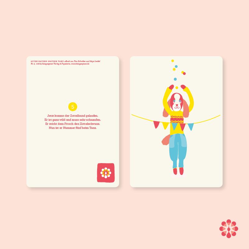 Affenkatzenspatzentanz Postkarte mit Vers