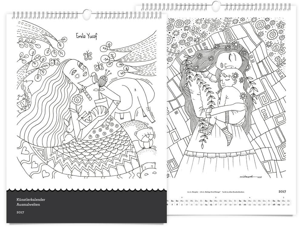 feingespinst Künstlerkalender Ausmalwelten 2