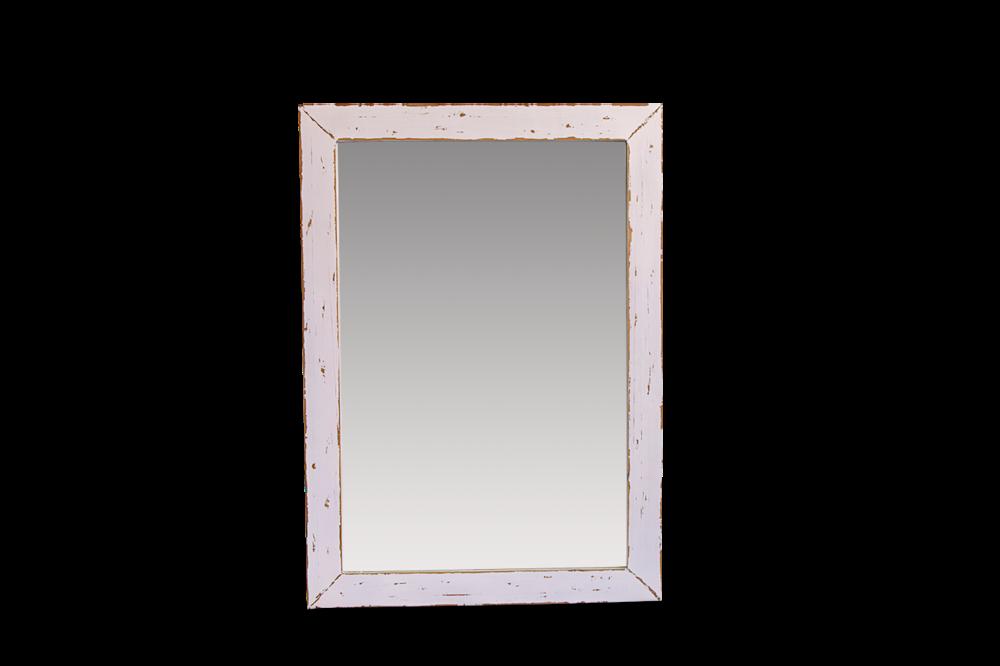 Espejo de madera decapado en tonos blancos.