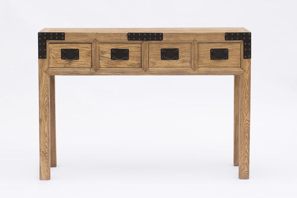 Consola con 4 cajonesen madera de olmo, con el detalle de los herrajes en metal. Medidas; 120x35xh.85. Se puede pedir a medida y en cualquier color.