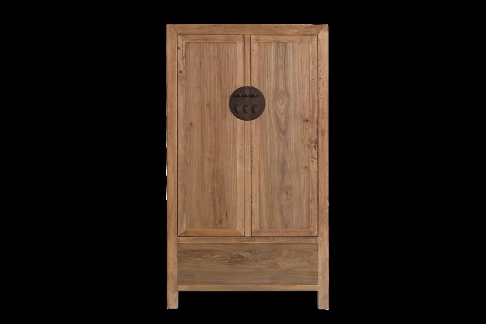 Armario en madera natural con dos puertas. Medidas 100x45x180