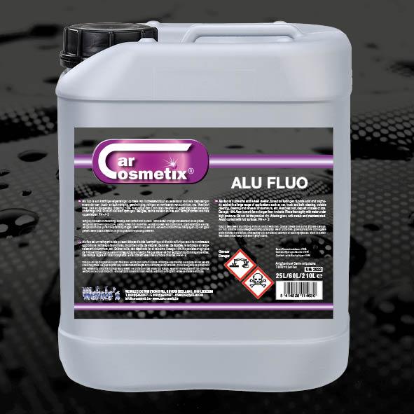 ALU FLUO - NL Reinigingsproduct voor aluminium velgen, …Bevat fluorwaterstofzuur.FR Nettoyage des jantes alu, ...Contient acide fluorhydrique.EN Cleaning product for aluminumrims. Contains hydrofluoric acid.10L/25L/210L/1000L
