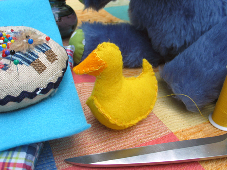 Step 5.  Blanketstitch the beak at lucky ducky's head.