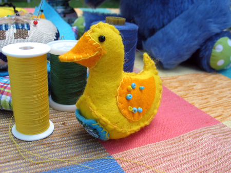 Step 7.  You might want to decorate your ducky with some beads or embroidery.