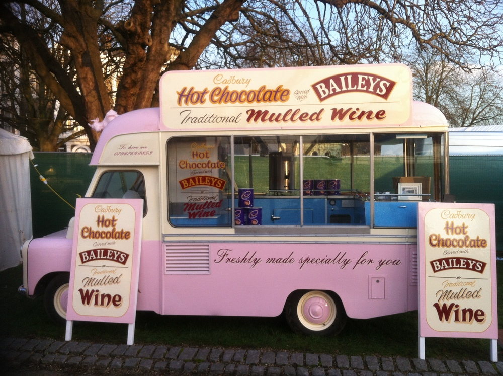 Belle - our vintage ice cream van selling mulled wine and Baileys with hot chocolate