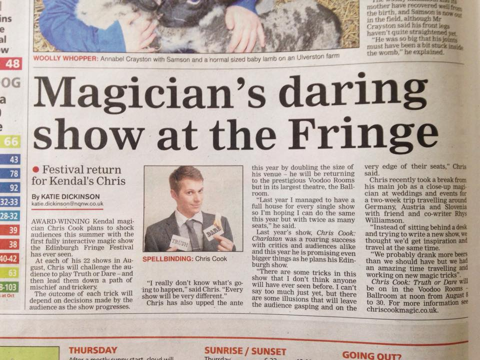 Magician Newspaper Chris Cook