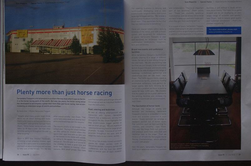 Slik ser dobbeltsiden om Sørlandets Travpark i juli-utgaven Scan Magazine ut.