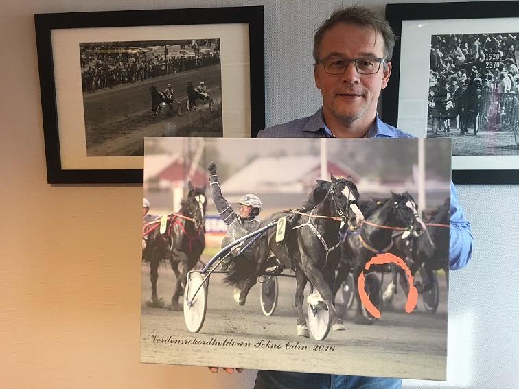 """Det signerte bildet av Tekno Odin kom i dag ferdig montert på lerret. Nå stiger også budene til inntekt for """"Travsporten støtter Kreftforeningen"""". Foto: Richard Ekhaugen."""