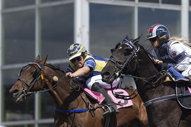 Siv Emilie Løvvold (ytterst) har vært et hestehode foran sine konkurrenter i montechampionatstriden i Travparken i hele år. Foto: Hesteguiden.com.