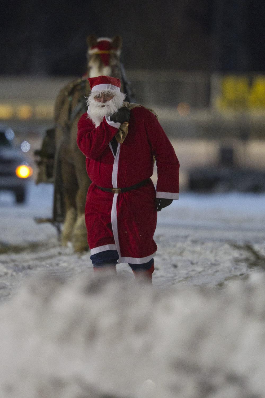 Selveste Julenissen dukker opp på Sørlandets Travpark søndag. Foto: Hesteguiden.com.