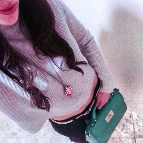 Sweater:  Alice Jane  ; Necklace:  J. Crew  ; Bag:  Kate Spade