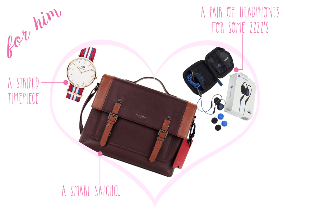 Daniel Wellington Classic Exeter Watch  ($195) -    Ted Baker Messenger Bag  ($365) -    Bedphones  ($60)