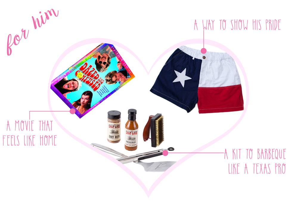 Dazed & Confused  ($9)-  Salt Lick BBQ Essential Grill Set  ($60)-  The Lone Stars Chubbies  ($60)