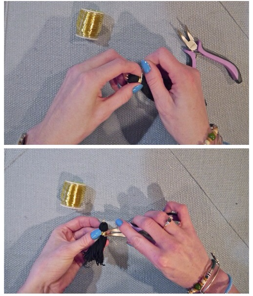 Take a piece of gold wire (I measured it from my wrist to my elbow) and wrap it around the folded tassel. Use your pliers to secure the wire. I do this by folding one piece up and then tucking it behind the looped wire so it comes out in the middle of the tassel.