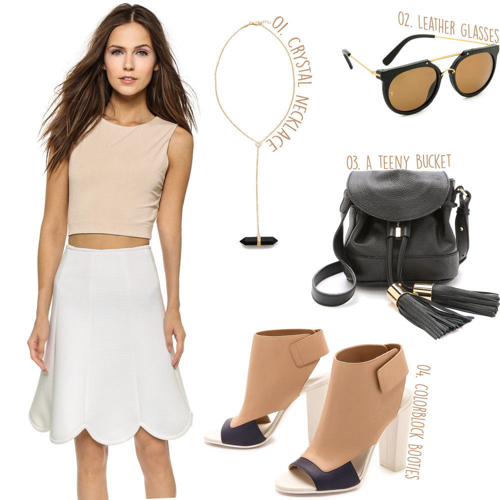 AIR by alice + olivia Twist Back Crop Top ($176) - Cynthia Rowley Bonded Pique Scallop Skirt ($225) -- 01. Jacquie Aiche Crystal Lariat Necklace ($320) - 02. Wonderland Stateline leather Sunglasses ($285) - 03. See by Chloe Vicki Cross Body Bag ($365) - 04. Vince Agatha Open Toe Booties ($450)