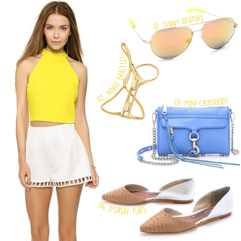 J.O.A. Tropics Halter Top ($58)  - Keepsake Draw the Line Shorts ($150) -- 01, Matthew Williamson Mirrored Aviator Sunglasses ($300) - 02. Alexis Bittar Liquid Hinge Bracelet ($195) - 03. Rebecca Minkoff Mini MAC Cross Body Bag - 04. Matt Bernson Mercer d'Orsay Flats ($219)