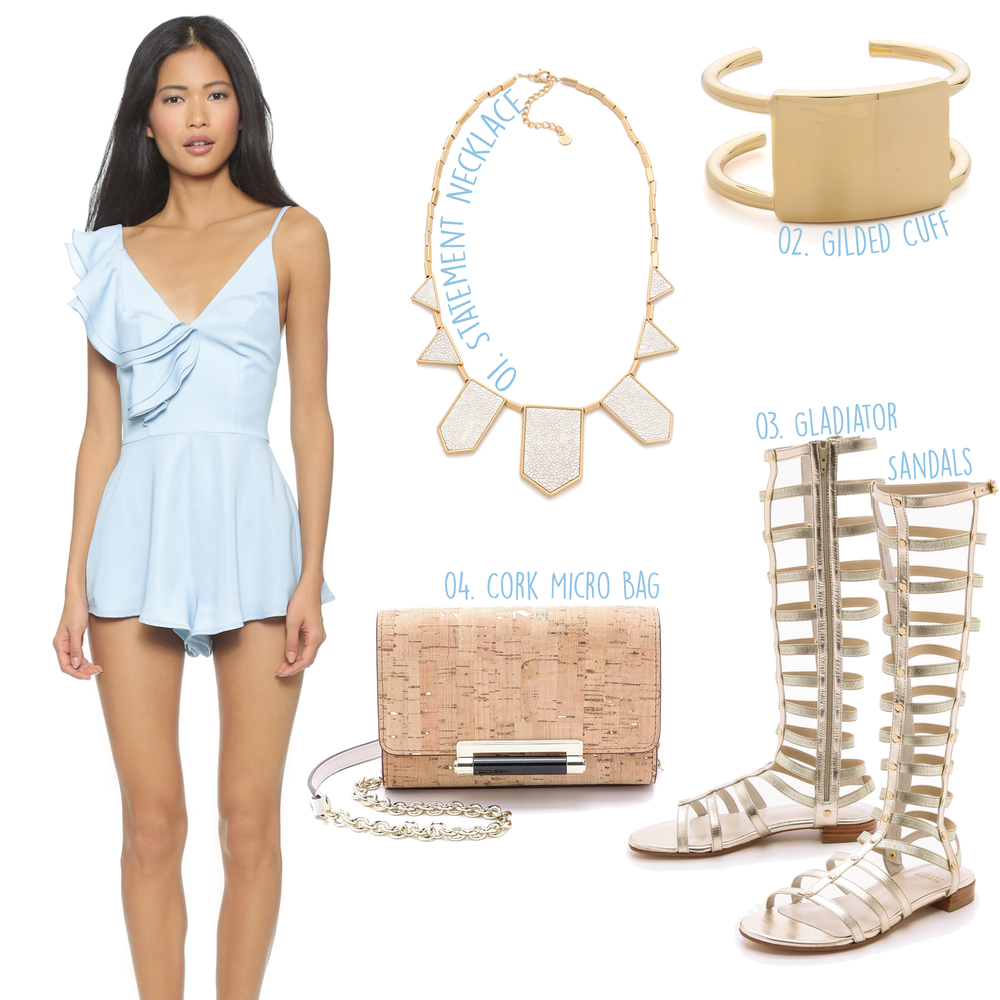 STYLESTALKER Bianco Romper ($149) -- 01. House of Harlow White Sand Five Station Necklace ($75) - 02. Elizabeth and James De Maria Cuff Bracelet ($225) - 03. Stuart Weitzman Gladiator Sandals ($398) - 04. Diane von Furstenberg 440 Metallic Cork Micro Mini ($168)