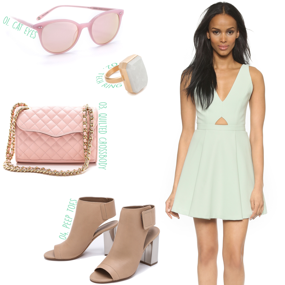 alice + olivia Nina Cutout Box Pleat Dress ($385) -- 01. Garrett Leight Dillion Mirrored Sunglasses ($375) - 02. Ringly Daydream Tech Ring ($195) - 03. Rebecca Minkoff Quilted Mini Affair Bag ($195) - 04. Vince Faye Open Toe Booties ($425)