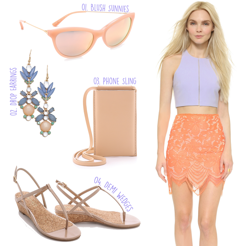 Elizabeth and James Corrin Crop Top ($255) - For Love & Lemons Guava Skirt ($158) -- 01. Tory Burch Cat Eye Sunglasses ($175) - 02. Adia Kibur Floral Crystal Drop Earrings ($30) - 03. Building Block Phone Sling ($105) - 04. Splendid Edgewood Thong Demi Wedges ($68)