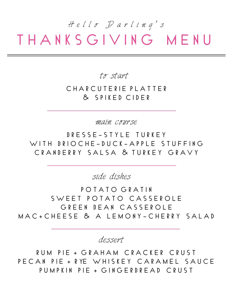 R E C I P E S :  Bresse-Style Turkey  |  Brioche Stuffing  |  Potato Gratin  |  Sweet Potato Casserole  |  Green Bean Casserole  |  Lemony-Cherry Salad  |  Rum Pie  |  Pecan Pie  |  Pumpkin Pie  .