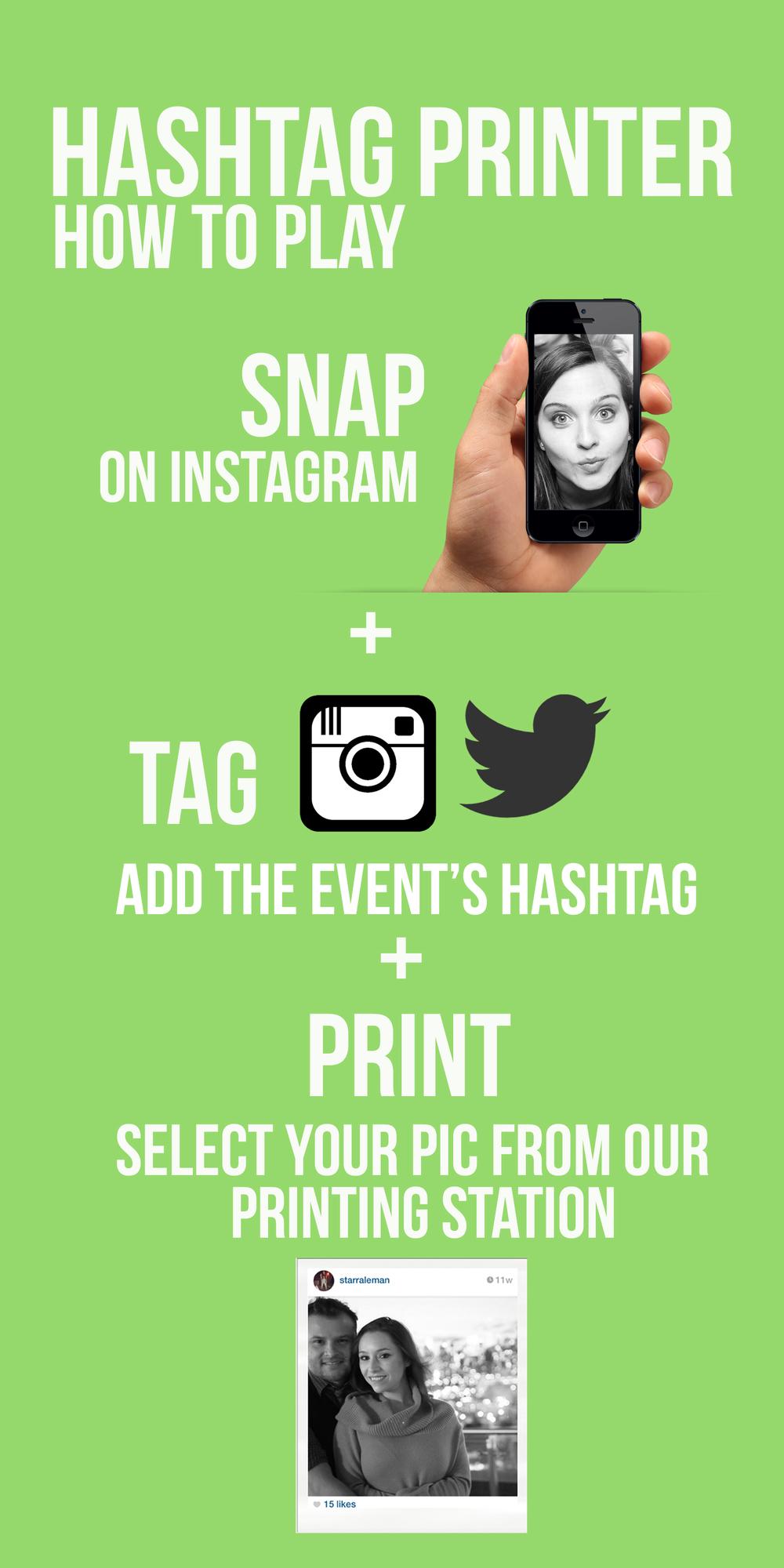 Hashtag printer / Instagram printer / shake and share media