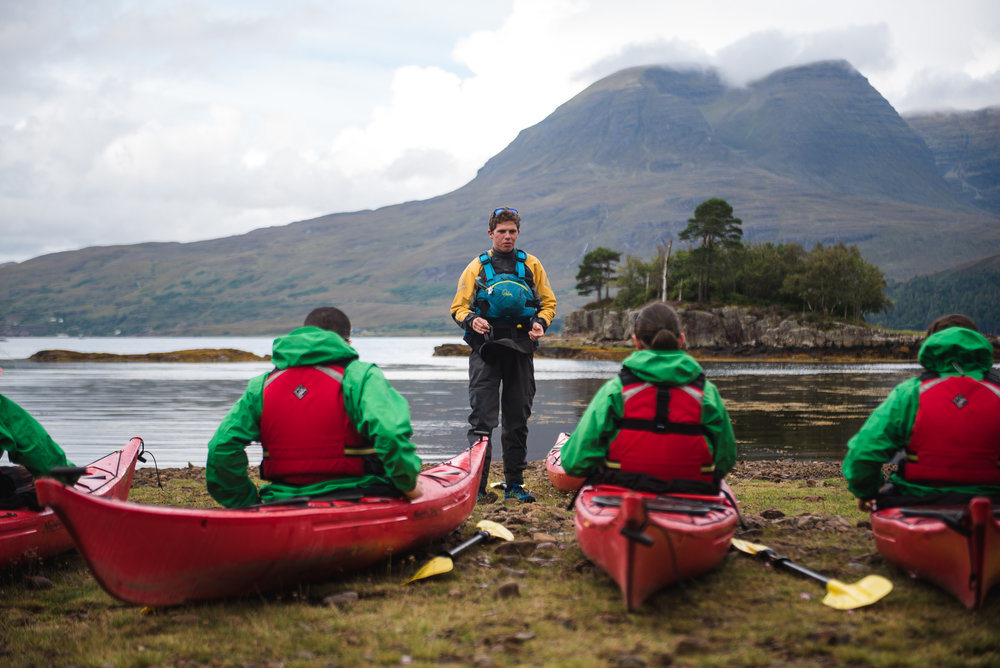 Kayaking lessons by Loch Torridon. Shot for The Torridon on location.