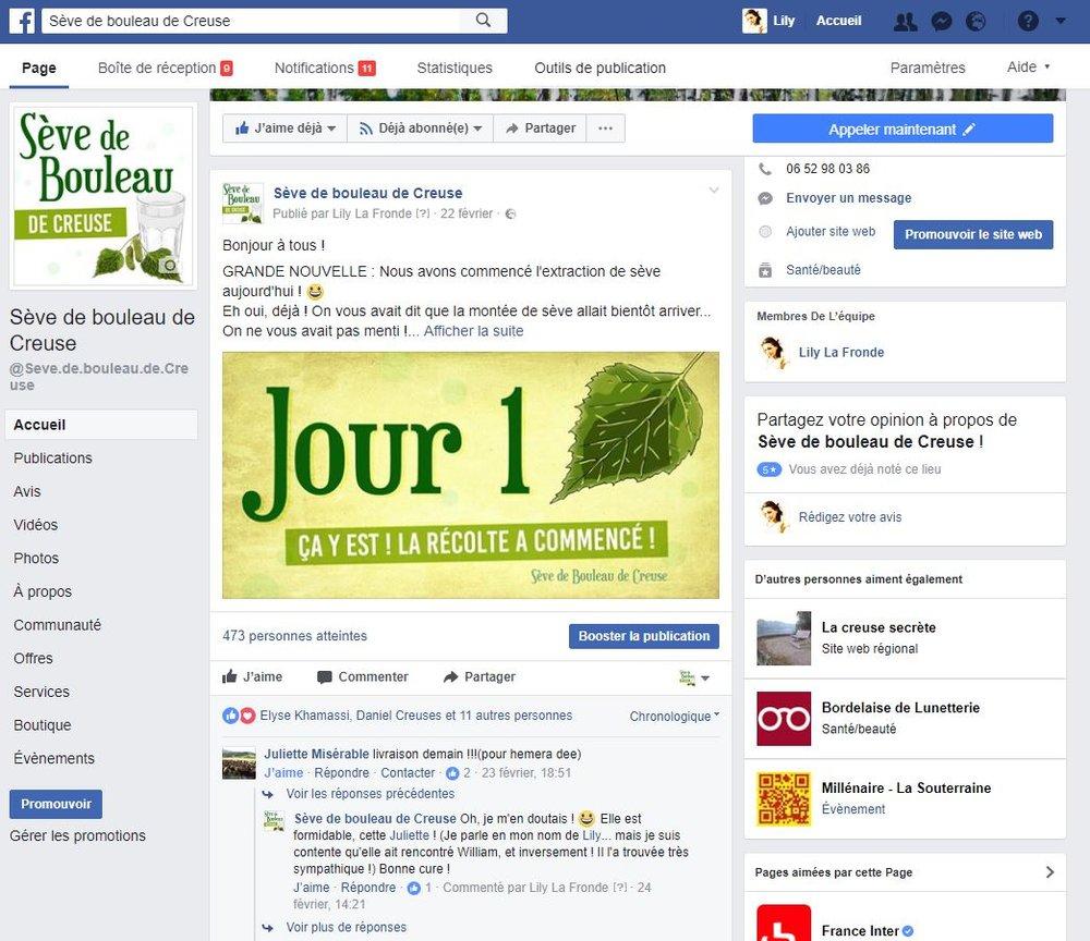 Page Facebook de la Sève de bouleau de Creuse