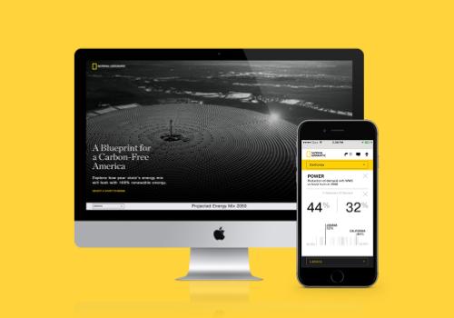 A Blueprint for Carbon-Free America National Geographic. Hemos colaborado con el National Geographic para diseñar y construir un dispositivo interactivo que ayude a diseminar el mensaje de la investigación del profesor Jacobson (Stanford University).