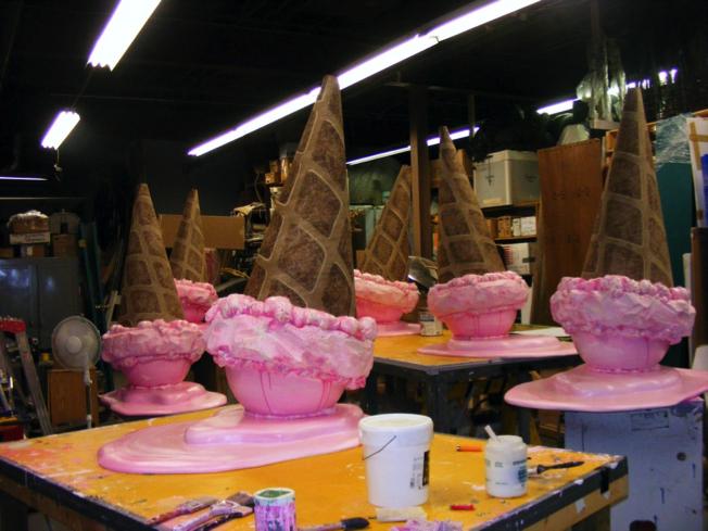 Upside Down Ice Cream Cones for Jean Machine store window displays