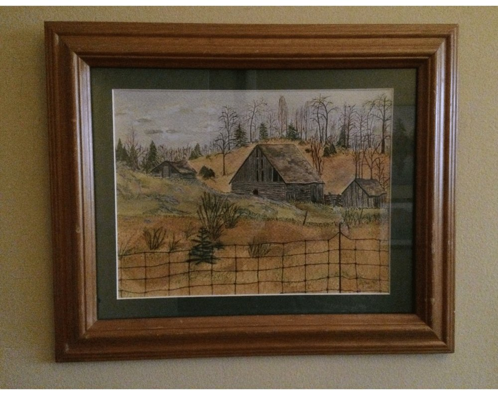 'Initials' Old Barn on Hwy 503 in acrylic