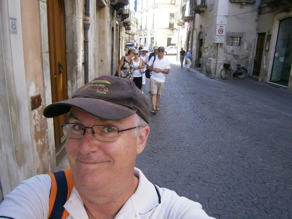 And a selfie leading a small group in an Abruzzese village