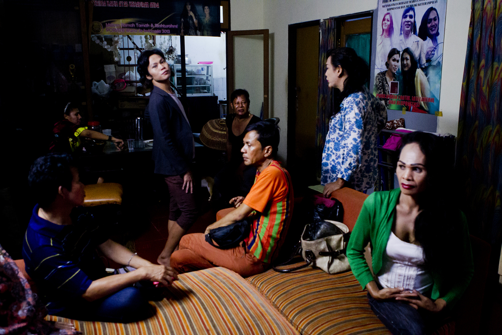 The pain inflicted upon them by an unwelcoming society does not stop many warias from building their own communities and working together toward the dream of an Indonesia that accepts and embraces their existence.  A group of warias at Mami Yuli's waria safehouse outside of Jakarta.