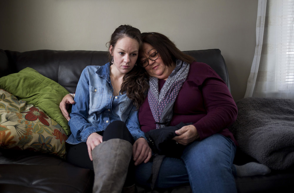 Cathy Fecteau and her daughter Lizzy at their home in Biddeford, Maine. They lost their son and brother Matthew Fecteau to an overdose on July 30, 2016. He was 27 years old. Lizzy struggles herself with substance abuse disorder and an addiction to opioids.