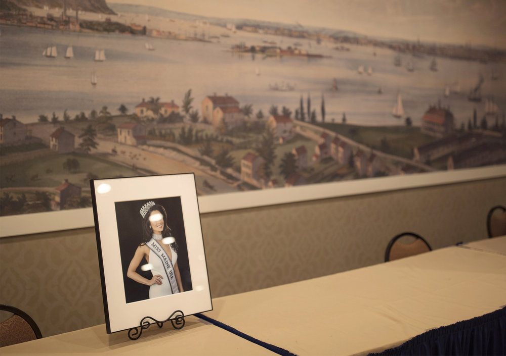 A photo of Miss Maine 2017 in the lobby of the Holiday Inn in Portland where the pageant was held.