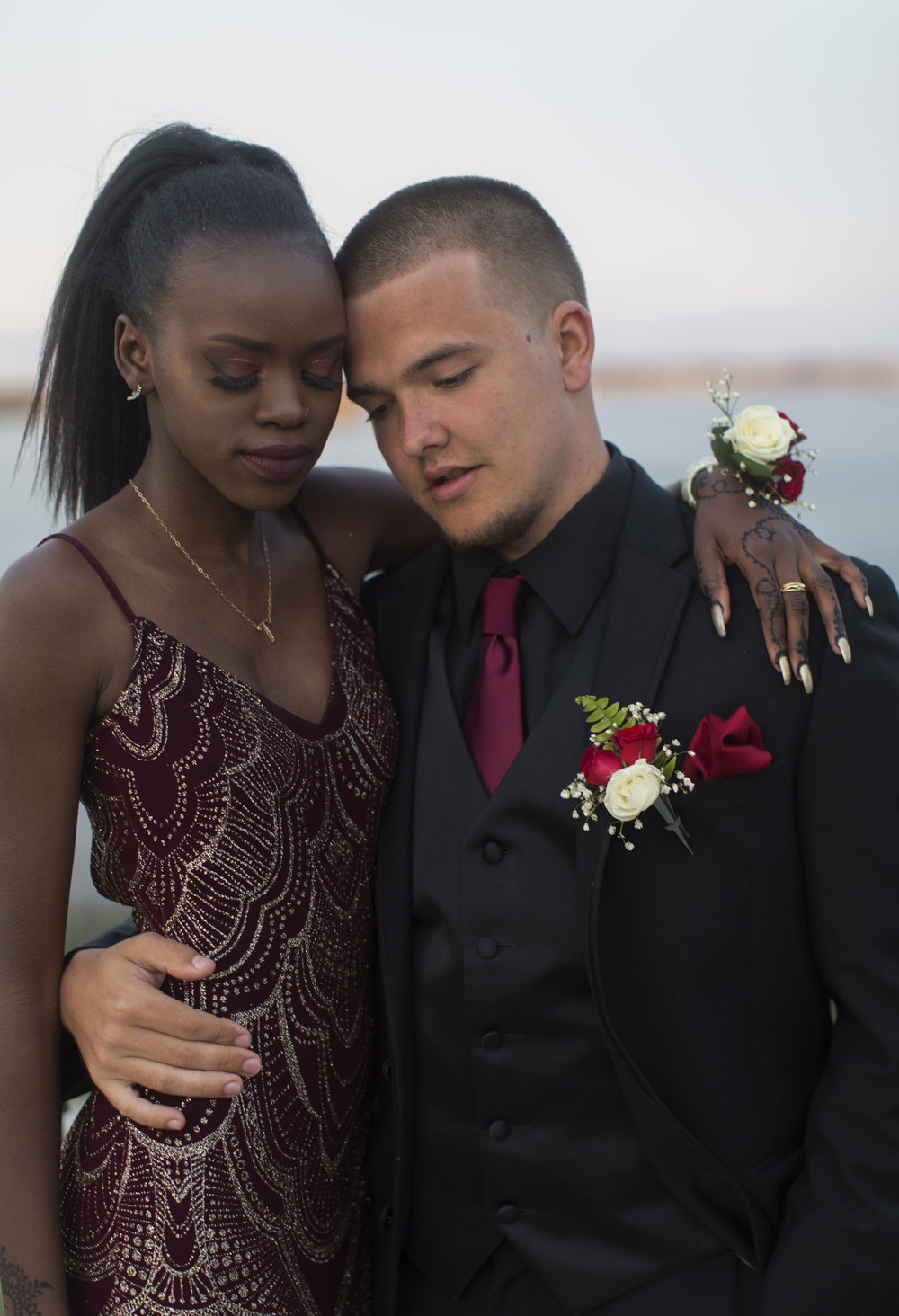 Casco Bay High prom night in Portland, Maine. May 12, 2018.    Marlin Pamba, left, and Tariq Assales.