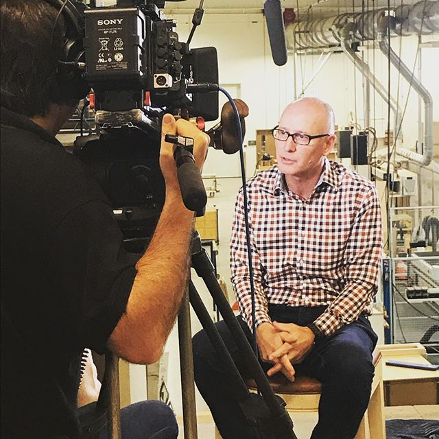 Mike Schaap behind the camera this morning, sharing the history of Mike Schaap Builders & Benchmark Wood & Design Studios.
